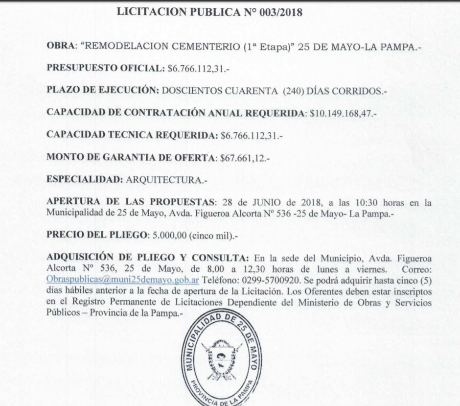 """screenshot 20180528 121325 - Licitan obra de """"remodelación"""" del cementerio local"""